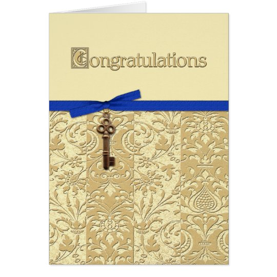 Gold 3D Damask with Key Charm and Bow Congrats Card