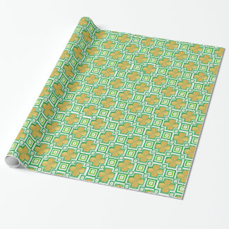 Gold 4-Leaf Clover Green Watercolor Block Pattern Wrapping Paper