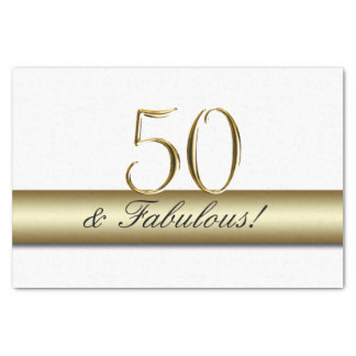 Gold 50 and Fabulous | 50th Birthday Tissue Paper