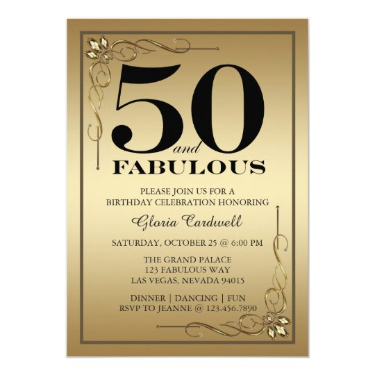 Gold 50 and Fabulous Birthday Party invitation