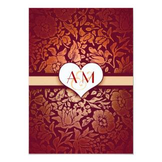 gold 50 wedding anniversary red damask invitations