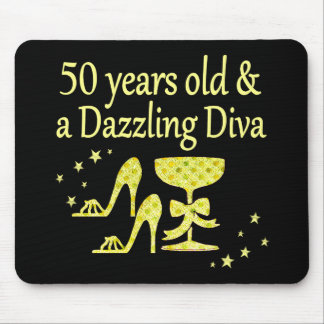 GOLD 50 YRS OLD AND A DAZZLING DIVA DESIGN MOUSE PAD
