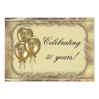Gold 50th Anniversary Balloon Party Invitation