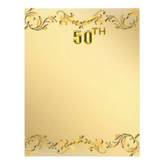 Gold 50th Anniversary Or Birthday Antique Flyer