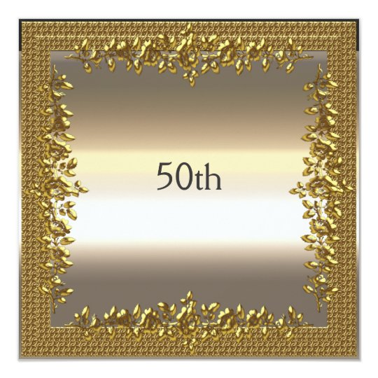 Gold 50th Birthday Anniversary Party Invitation