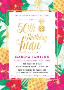 Gold 50th Birthday Luau Party Invitations