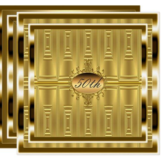 Gold 50th Birthday Party  Invitation Gold