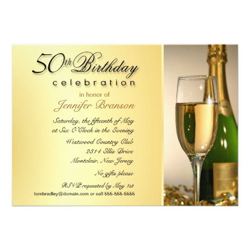 Gold 50th Birthday Party Invitations with Monogram