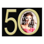Gold 50th Photo Birthday or Other Party Invitation