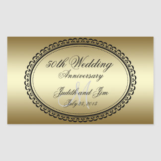 Gold 50th Wedding Anniversary Rectangular Sticker