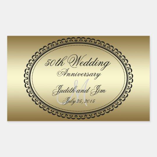 Gold 50th Wedding Anniversary Rectangular Sticker
