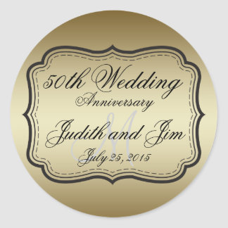 Gold 50th Wedding Anniversary Round Sticker