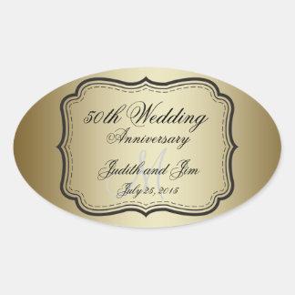 Gold 50th Wedding Anniversary Oval Sticker
