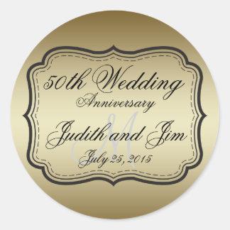 Gold 50th Wedding Anniversary Round Sticker