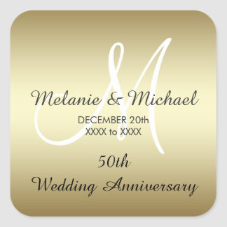 Gold 50th Wedding Anniversary Stickers