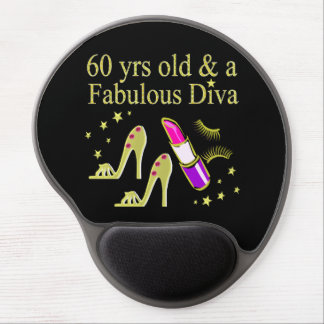 GOLD 60 YRS OLD & A FABULOUS DIVA GEL MOUSE PAD