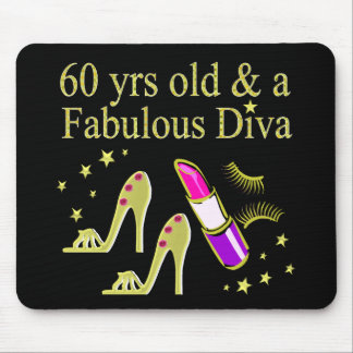 GOLD 60 YRS OLD & A FABULOUS DIVA MOUSE PAD
