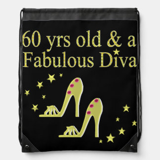 GOLD 60 YRS OLD AND A FABULOUS DIVA BACKPACKS