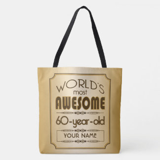Gold 60th Birthday Celebration World Best Fabulous Tote Bag