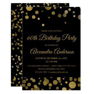 Gold 60th Birthday Party Gold Confetti Card