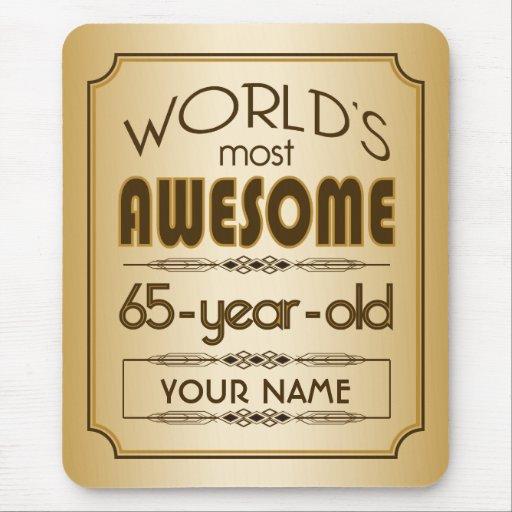 Gold 65th Birthday Celebration World Best Fabulous Mousepad