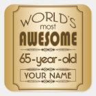 Gold 65th Birthday Celebration World Best Fabulous Square Sticker