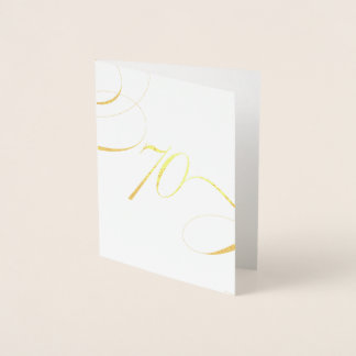 Gold 70 Calligraphy Milestone Birthday Anniversary Foil Card