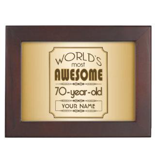 Gold 70th Birthday Celebration World Best Fabulous Keepsake Box