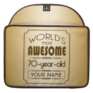 Gold 70th Birthday Celebration World Best Fabulous MacBook Pro Sleeves