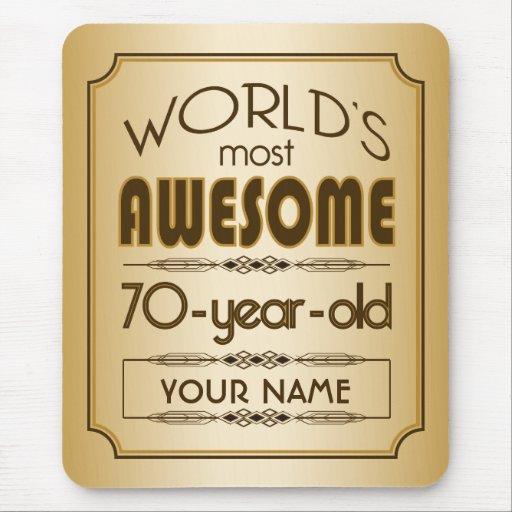 Gold 70th Birthday Celebration World Best Fabulous Mousepad
