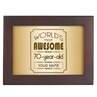 Gold 70th Birthday Celebration World Best Fabulous Memory Boxes