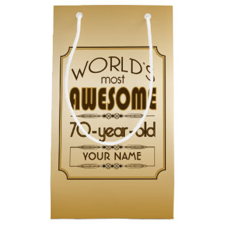 Gold 70th Birthday Celebration World Best Fabulous Small Gift Bag