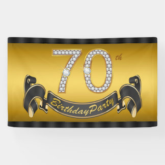 Gold 70th Birthday Party Banner