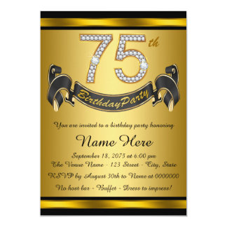 Gold 75th Birthday Party Card
