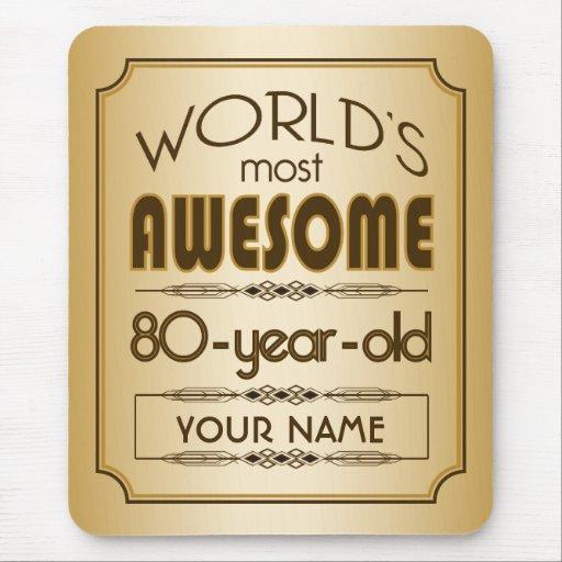 Gold 80th Birthday Celebration World Best Fabulous Mousepad