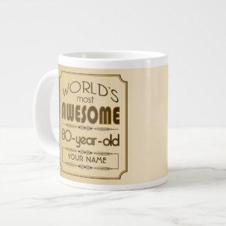 Gold 80th Birthday Celebration World Best Fabulous 20 Oz Large Ceramic Coffee Mug