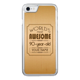 Gold 90th Birthday Celebration World Best Fabulous Carved iPhone 8/7 Case