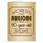 Gold 90th Birthday Celebration World Best Fabulous Greeting Card