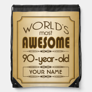 Gold 90th Birthday Celebration World Best Fabulous Drawstring Backpack