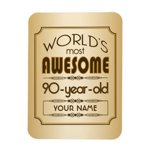 Gold 90th Birthday Celebration World Best Fabulous Rectangle Magnets