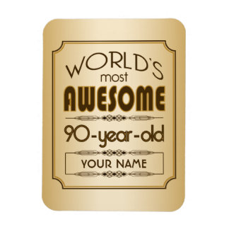 Gold 90th Birthday Celebration World Best Fabulous Rectangular Photo Magnet
