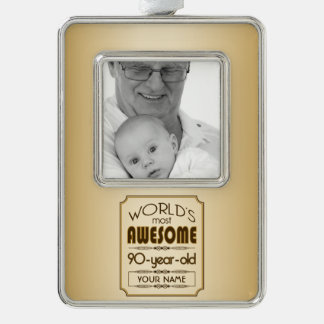 Gold 90th Birthday Celebration World Best Fabulous Silver Plated Framed Ornament