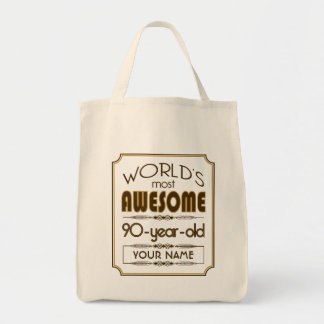 Gold 90th Birthday Celebration World Best Fabulous Grocery Tote Bag