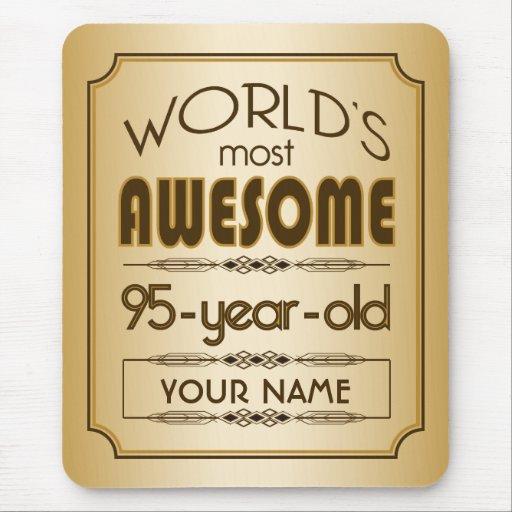 Gold 95th Birthday Celebration World Best Fabulous Mouse Pad