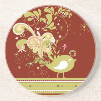 Gold Abstract Bird on Burgundy Sandstone Coaster