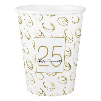 Gold Abstract Circles Anniversary Paper Cup