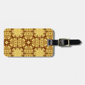 Gold Abstract Geometric Ornament Twirls Pattern Tags For Luggage