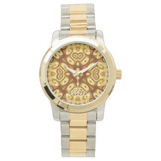Gold Abstract Geometric Ornament Twirls Pattern Wrist Watches