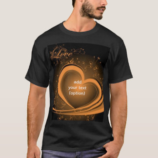 Gold Abstract Heart Basic Dark T Shirt