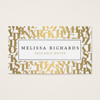 Gold Abstract Letterforms III for Authors, Writers Business Card